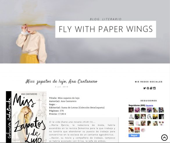 Reseña de Miss Zapatos de Lujo en el blog Fly with paper wings