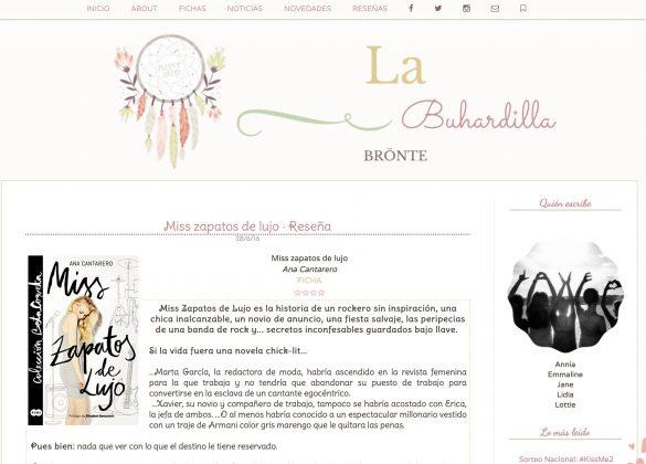 Reseña de Miss Zapatos de Lujo en el el blog La buhardilla bronte
