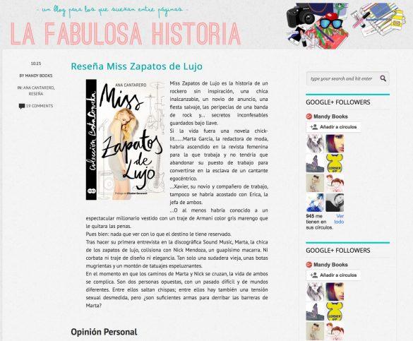 Reseña de Miss Zapatos de Lujo en el blog La Fabulosa Historia