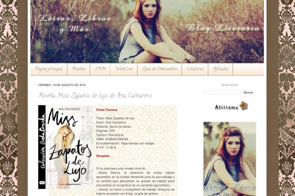 Reseña de Miss Zapatos de Lujo en el blog Letras Libros y más