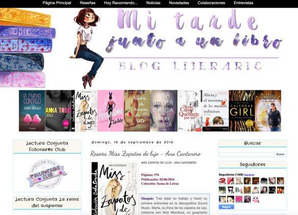 Reseña de Miss Zapatos de Lujo en el blog Mi tarde junto a un libro