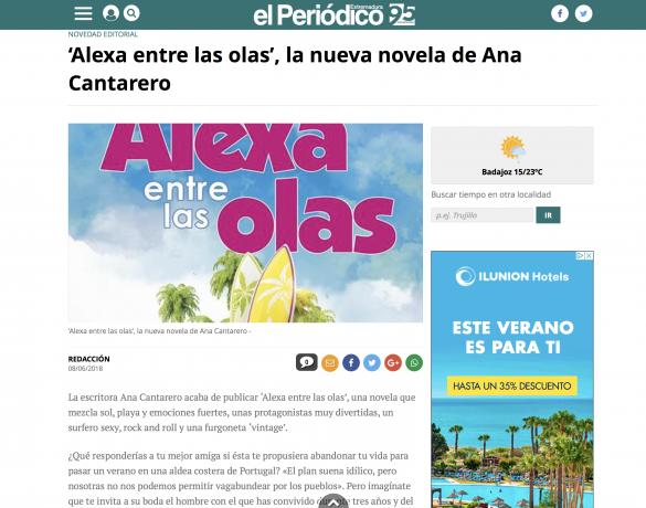 Alexa entre las olas en El Periódico de Extremadura.