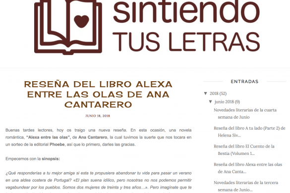 Reseña de Alexa Entre las Olas en Sintiendo Tus Letras